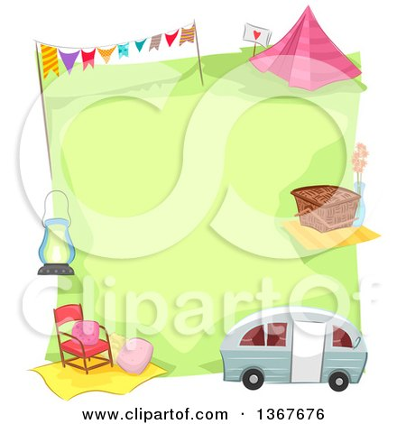 Clipart of a Green Campsite Bordered with a Camper, Picnic Basket, Tent and Other Items - Royalty Free Vector Illustration by BNP Design Studio