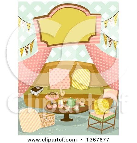 Clipart of a Glamping Tent Interior with a Sign, Bunting Banners, a Sofa and Table with Tea - Royalty Free Vector Illustration by BNP Design Studio