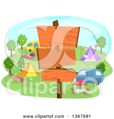 Clipart of a Post with Blank Wood Signs at a Camp Ground - Royalty Free Vector Illustration by BNP Design Studio