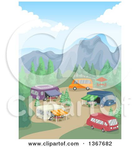 Clipart of a Campground with Recreational Vechicles in the Mountains - Royalty Free Vector Illustration by BNP Design Studio
