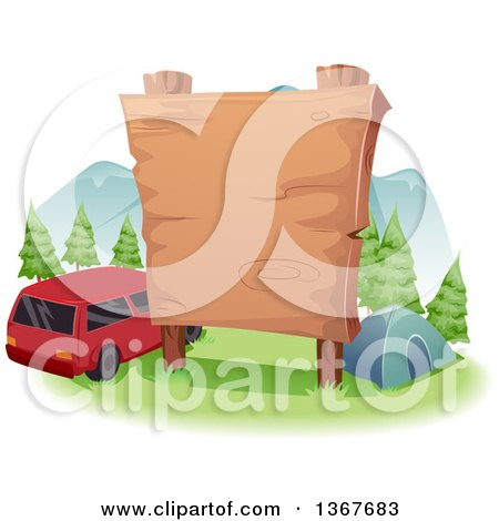 Clipart of a Large Blank Wooden Sign over a Camp Site and Car - Royalty Free Vector Illustration by BNP Design Studio