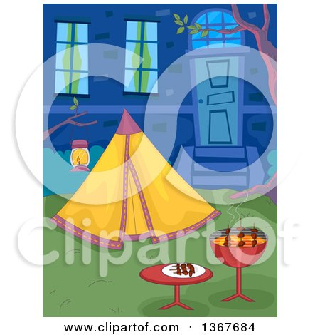 Clipart of a Bbq Grill and Tent in a Back Yard - Royalty Free Vector Illustration by BNP Design Studio