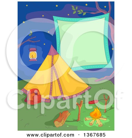 Clipart of a Camp Site with a Tent, Hot Dog on a Fire and Blank Sign Against a Night Sky - Royalty Free Vector Illustration by BNP Design Studio