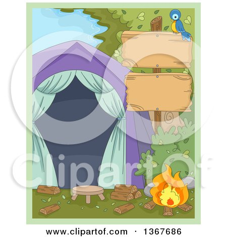 Clipart of a Blue Bird on a Blank Wood Sign Post with a Campfire and Tent - Royalty Free Vector Illustration by BNP Design Studio