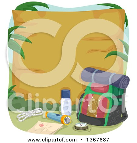 Clipart of a Hiking Backpack and Camping Gear by a Blank Wood Sign - Royalty Free Vector Illustration by BNP Design Studio