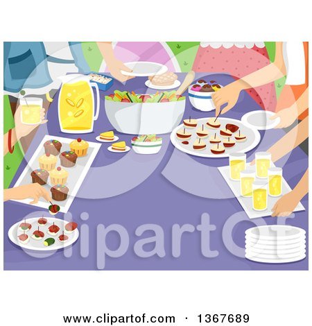 Clipart of a Family Gathered Around a Table with Snacks - Royalty Free Vector Illustration by BNP Design Studio