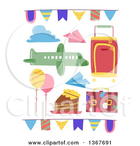 Clipart of Travel Party Design Elements - Royalty Free Vector Illustration by BNP Design Studio