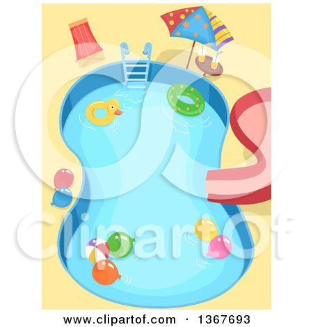 Clipart Of A Swimming Pool With Kids Party Accessories