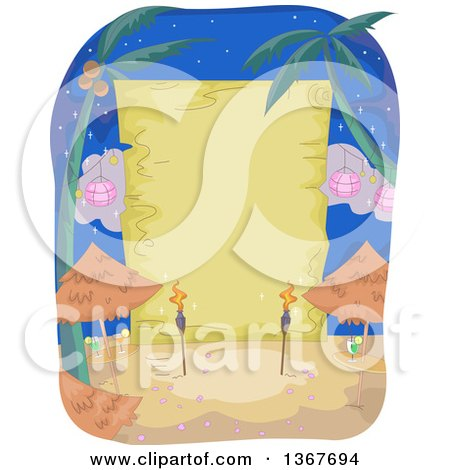 Clipart of a Blank Wood Sign Behind Tiki Torches and Tables on a Beach at Night - Royalty Free Vector Illustration by BNP Design Studio