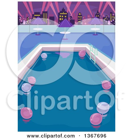 Clipart of a Roof Top Urban Pool Party Scene with Skyscrapers in the Background - Royalty Free Vector Illustration by BNP Design Studio