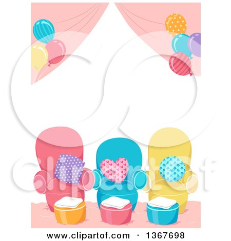 Clipart of a Spa Party Setup with Chairs and Balloons - Royalty Free Vector Illustration by BNP Design Studio