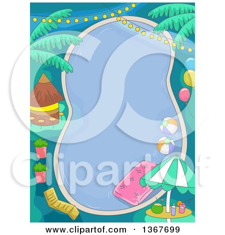 Clipart of a Birthday Pool Party with Lights, Balloons and a Tiki Hut - Royalty Free Vector Illustration by BNP Design Studio