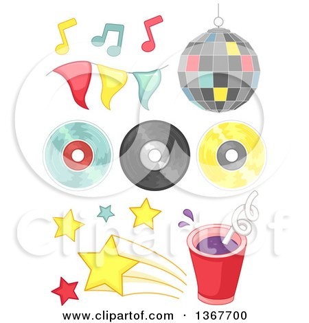 Clipart of Disco Music Design Elements - Royalty Free Vector Illustration by BNP Design Studio