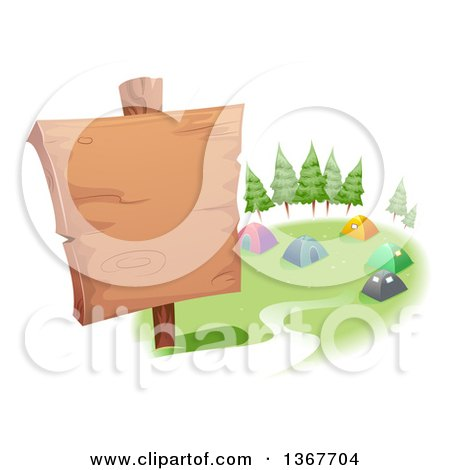 Clipart of a Blank Wood Sign and Tents in a Campground - Royalty Free Vector Illustration by BNP Design Studio