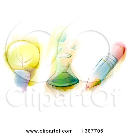 Clipart of a Water Color Painted Light Bulb, Science Beaker and Pencil - Royalty Free Vector Illustration by BNP Design Studio