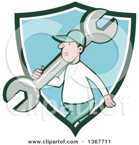 Clipart of a Retro Cartoon White Male Mechanic Carrying a Giant Spanner Wrench over His Shoulder and Walking, Emerging from a Green White and Blue Shield - Royalty Free Vector Illustration by patrimonio