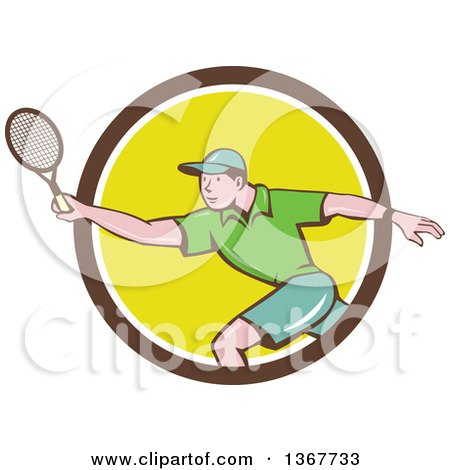 Clipart of a Retro Cartoon White Man Playing Tennis, Emerging from a Brown White and Yellow Circle - Royalty Free Vector Illustration by patrimonio
