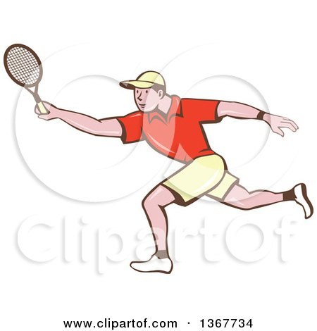 Clipart of a Retro Cartoon White Man Playing Tennis - Royalty Free Vector Illustration by patrimonio