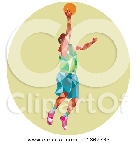 Clipart of a Retro Low Poly White Male Basketball Player Doing a Layup in a Green Oval - Royalty Free Vector Illustration by patrimonio