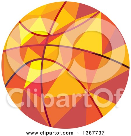 Clipart of a Geometric Low Poly Style Basketball - Royalty Free Vector Illustration by patrimonio