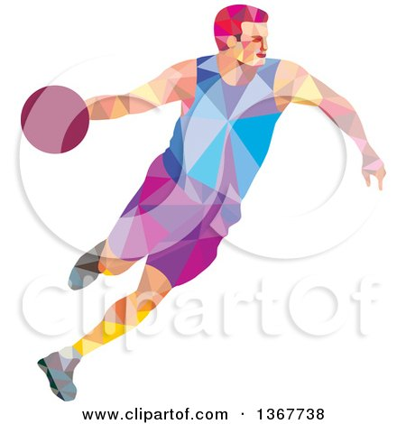 Clipart of a Retro Low Poly White Male Basketball Player Dribbling - Royalty Free Vector Illustration by patrimonio