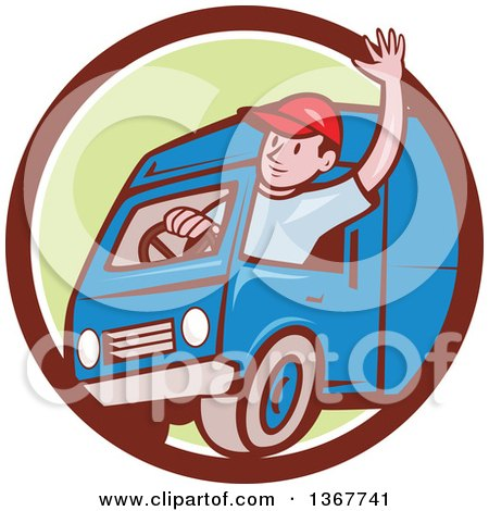 Clipart of a Retro Cartoon Friendly White Male Delivery Truck Driver Waving in a Brown White and Green Circle - Royalty Free Vector Illustration by patrimonio