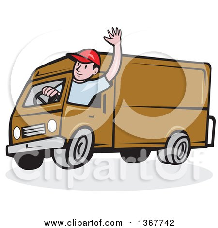 Clipart of a Retro Cartoon Friendly White Male Delivery Truck Driver Waving - Royalty Free Vector Illustration by patrimonio
