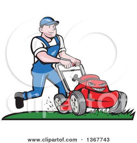Retro Cartoon White Man Pushing a Tough Red Lawn Mower Mascot Posters, Art Prints
