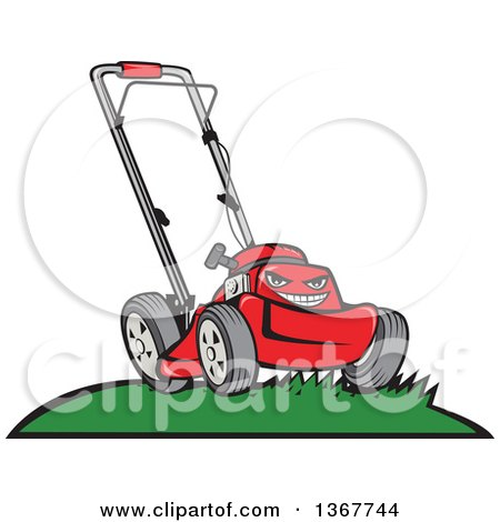 Cartoon Tough Red Lawn Mower Mascot on a Hill Posters, Art Prints