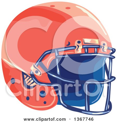 Clipart of a WPA Styled Red American Football Helmet - Royalty Free Vector Illustration by patrimonio