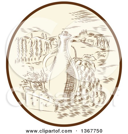 Clipart of a Retro Sketched or Engraved Olive Jar, Grapes and Cheese in a Tuscan Landscape Within an Oval - Royalty Free Vector Illustration by patrimonio