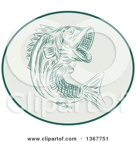 Clipart of a Retro Sketched or Engraved Largemouth Bass Fish Jumping in an Oval - Royalty Free Vector Illustration by patrimonio