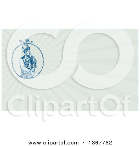 Clipart of a Sketched or Engraved Scotsman Bagpiper with a Thistle in an Oval and Pastel Green Rays Background or Business Card Design - Royalty Free Illustration by patrimonio