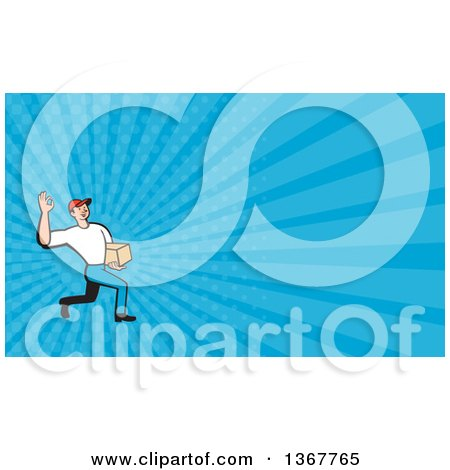 Clipart of a Cartoon Delivery Man Gesturing Ok and Carrying a Parcel and Blue Rays Background or Business Card Design - Royalty Free Illustration by patrimonio