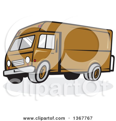 Clipart of a Cartoon Brown Delivery Van - Royalty Free Vector Illustration by patrimonio