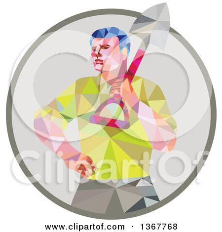 Retro Low Poly Styled Male Gardener Holding a Shovel in a Circle Posters, Art Prints