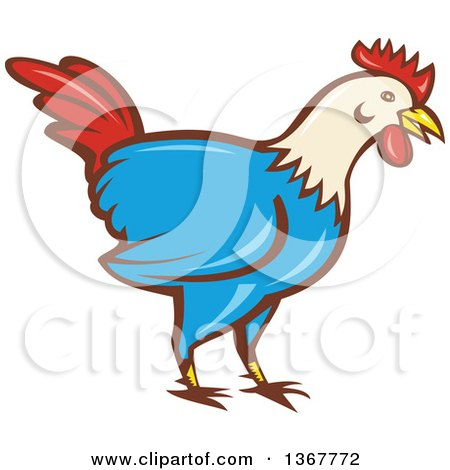 Clipart of a Retro Cartoon Rooster - Royalty Free Vector Illustration by patrimonio