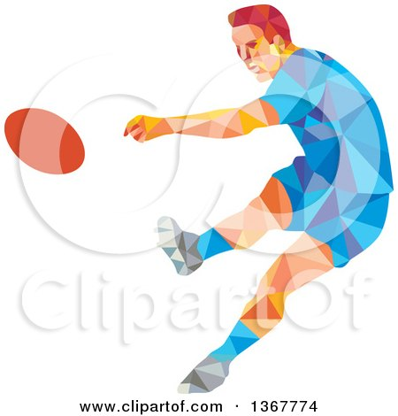 Clipart of a Retro Low Poly Caucasian Male Rugby Player Kicking - Royalty Free Vector Illustration by patrimonio