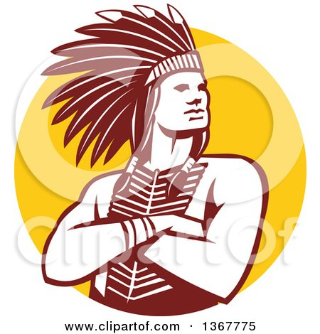 Clipart of a Retro Brown and White Native American Indian Chief with Folded Arms over a Yellow Circle - Royalty Free Vector Illustration by patrimonio
