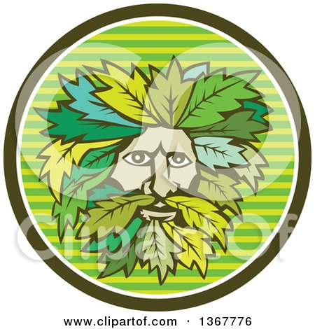 Clipart of a Retro Green Man Face with Leaf Hair in a Striped Circle - Royalty Free Vector Illustration by patrimonio