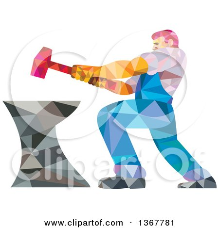 Clipart of a Geometric Low Polygon Styled Blacksmith Worker Man Swinging a Sledgehammer on an Anvil - Royalty Free Vector Illustration by patrimonio