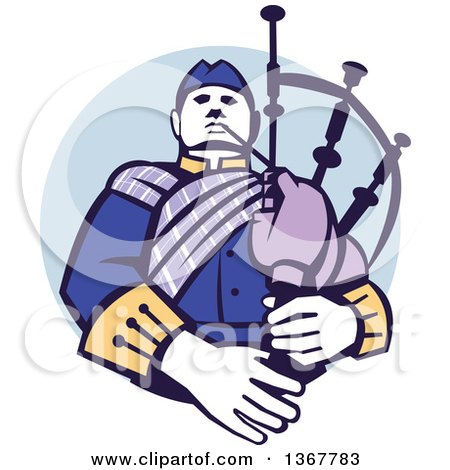 Clipart of a Retro Scotsman Bagpiper in a in a Blue Circle - Royalty Free Vector Illustration by patrimonio