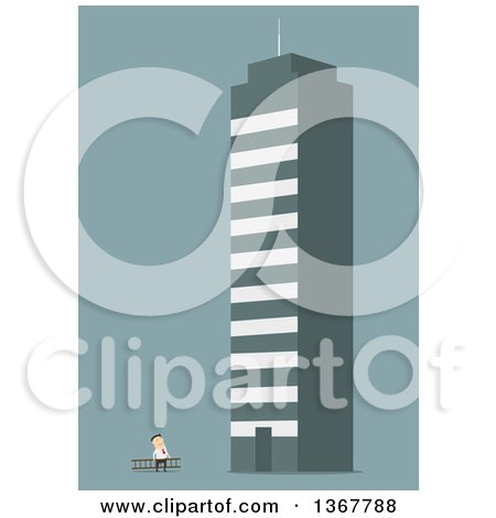 Clipart of a Flat Design White Business Man Looking up at a Giant Building, on Blue - Royalty Free Vector Illustration by Vector Tradition SM