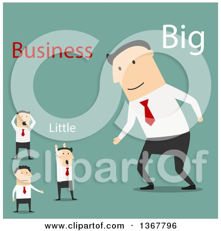Clipart of a Flat Design White Business Man Ready to Partner with Smaller Men, on Green - Royalty Free Vector Illustration by Vector Tradition SM