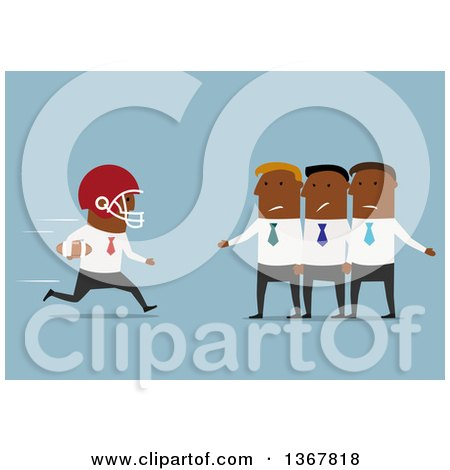 Clipart of a Flat Design Black Business Man Football Player Running to a Team, on Blue - Royalty Free Vector Illustration by Vector Tradition SM