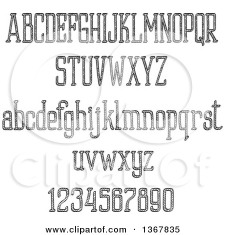 Clipart of Black and White Sketched Lowercase and Upper Case Alphabet Letters and Numbers - Royalty Free Vector Illustration by Vector Tradition SM