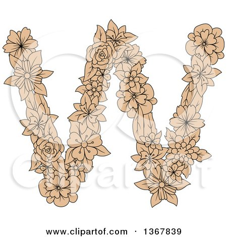Clipart of a Tan Floral Lowercase Alphabet Letter W - Royalty Free Vector Illustration by Vector Tradition SM