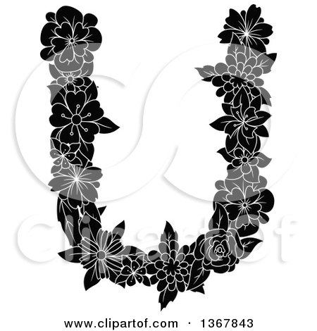 Clipart of a Black and White Floral Uppercase Alphabet Letter U - Royalty Free Vector Illustration by Vector Tradition SM