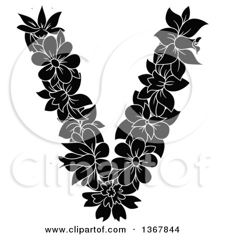 Clipart of a Black and White Floral Uppercase Alphabet Letter V - Royalty Free Vector Illustration by Vector Tradition SM