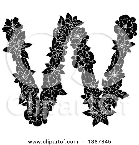 Clipart of a Black and White Floral Lowercase Alphabet Letter W - Royalty Free Vector Illustration by Vector Tradition SM